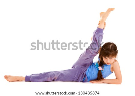 little girl the gymnast on a white background it is isolated