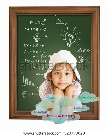 Little girl thinking out from wooden frame planning for education