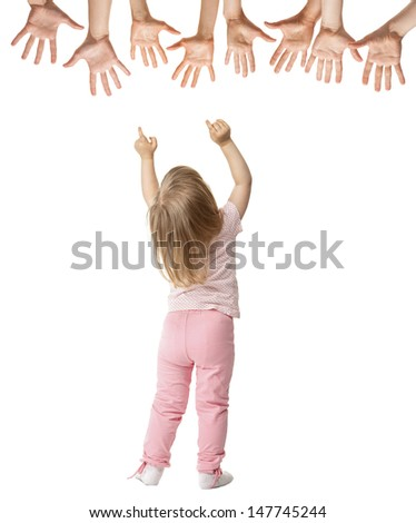 Little girl trying to reach stretched hands, rear view isolated on white - stock photo