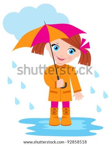 Little girl under an umbrella. raster illustration. - stock photo