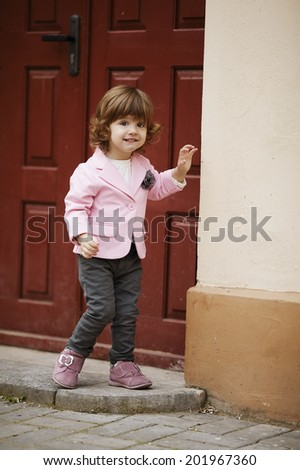 little girl urban stylish portrait