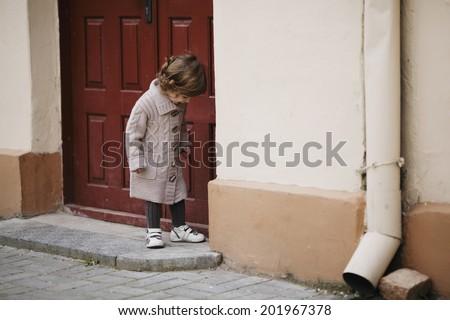 little girl urban stylish portrait - stock photo