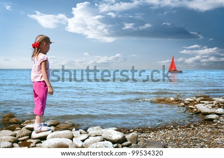 little girl wait boat with scarlet sail - stock photo