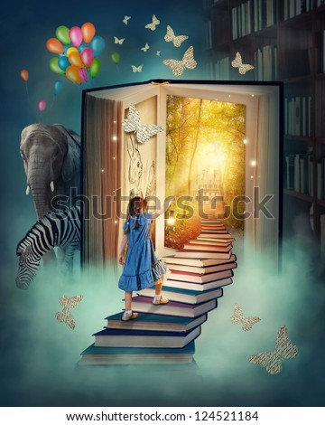 Little girl walking up stairs to the magic book land - stock photo
