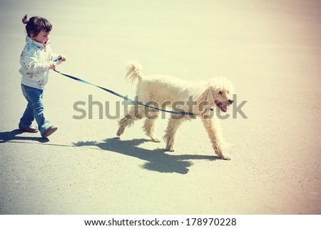 Little girl walking with dog  - stock photo