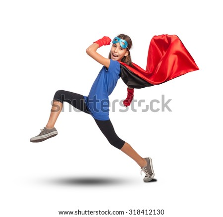 little girl wearing a superhero costume on white background