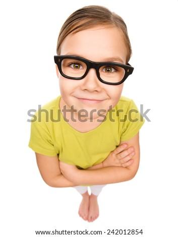 Little girl wearing glasses, bad eyesight concept, fisheye portrait, isolated over white - stock photo