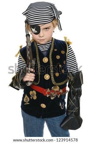 Little girl wearing pirate costume holding a gun, over white background - stock photo