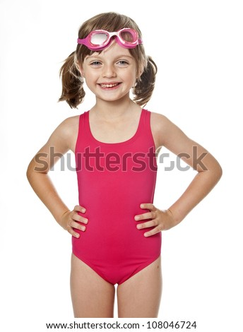 little girl wearing swimsuit isolated on white background - stock photo