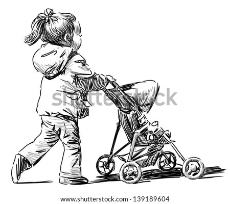little girl with a baby carriage - stock photo