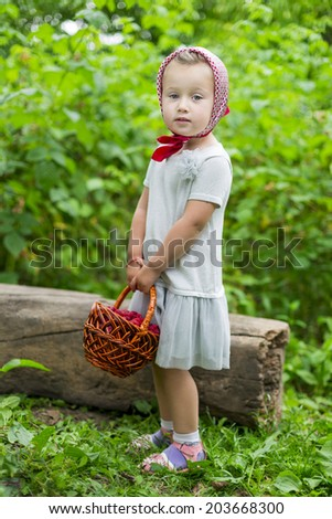 little girl with a basket of raspberries on nature