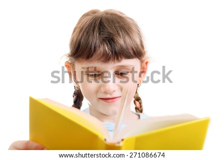 Little Girl with a Book Isolated on the White Background - stock photo