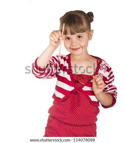 little girl with a brush in hand on a white background - stock photo