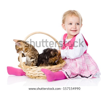 little girl with a cat and a dog. isolated on white background - stock photo