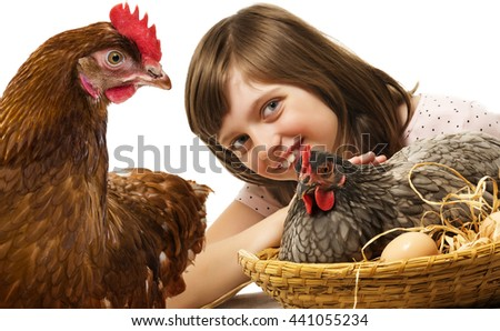 little girl with a hen (chicken) - concept bio eggs - stock photo