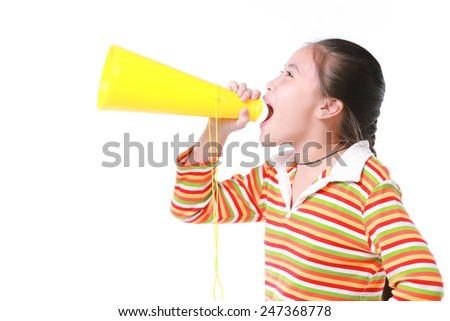 Little girl with a megaphone
