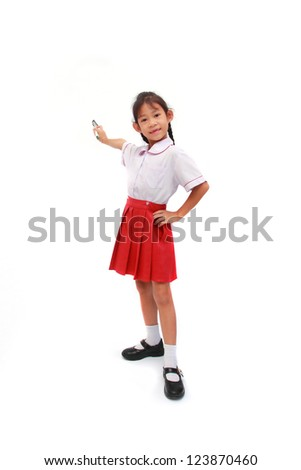 Little girl with a paintbrush, isolated on white background