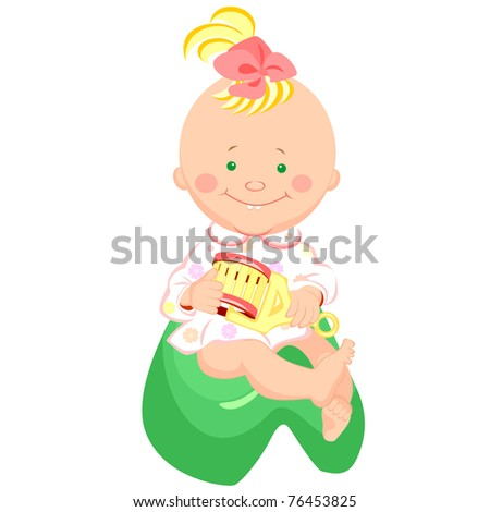 little girl with a rattle in his hand, smiling, sitting on the potty - stock photo