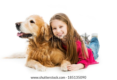 little girl with a red retriever - stock photo