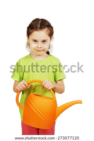 Little girl with a watering can isolated over white background - stock photo