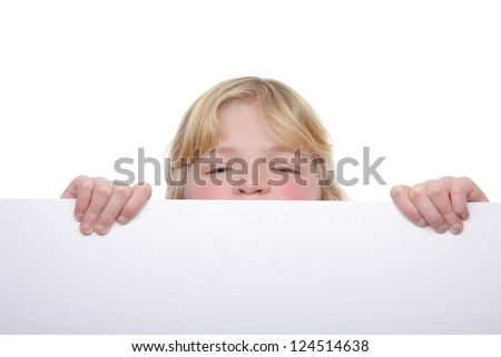Little girl with a white board