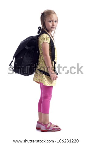 little girl with backpack - stock photo