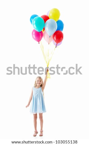 Little girl with balloons on a white background - stock photo
