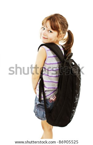 Little girl with big backpack. Isolated on white background - stock photo