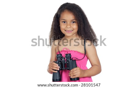 Little girl with binoculars on a over white background - stock photo