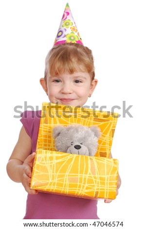 little girl with birthday gift - stock photo