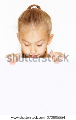 Little girl with blank sign