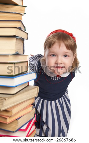 little girl with book on white background