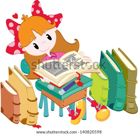 Little girl with books - stock photo