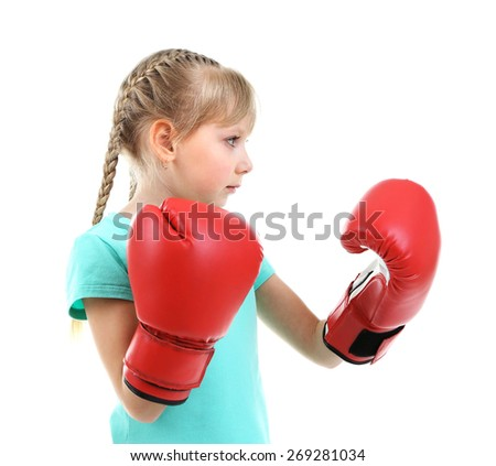 Little girl with boxing gloves isolated on white - stock photo