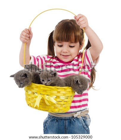 little girl with british kittens. isolated on white background - stock photo