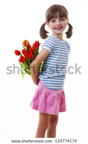 little girl with bunch of flowers