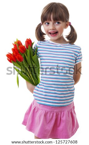 little girl with bunch of tulips - mothers day concept