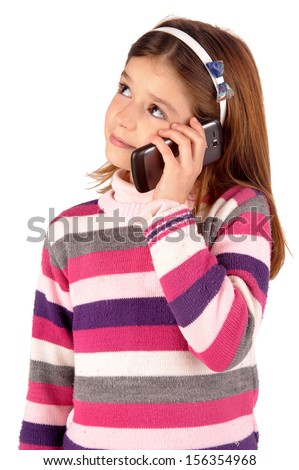 little girl with cellphone - stock photo
