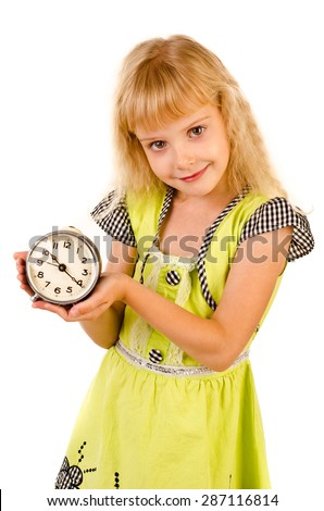 little girl with clock isolated on a white background