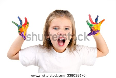 Little girl with colorful painted hands isolated on a white education concept