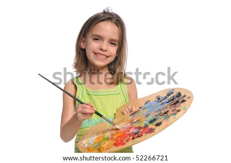 Little Girl with colorful palette isolated on a white background - stock photo