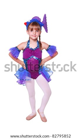 Little girl with dancing costume on