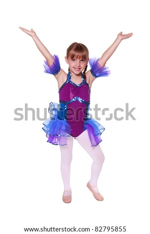 Little girl with dancing costume on - stock photo
