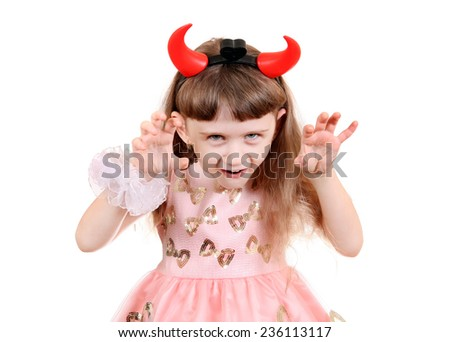Little Girl with Devil Horns on the White Background