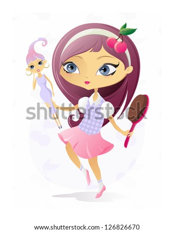 Little Girl with Doll/ The illustration of the Girl with Beautiful Doll - stock photo