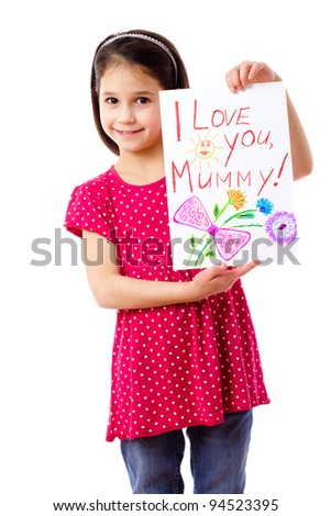 Little girl with drawing for mum, isolated on white - stock photo