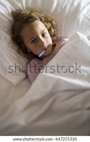 Little girl with fever
