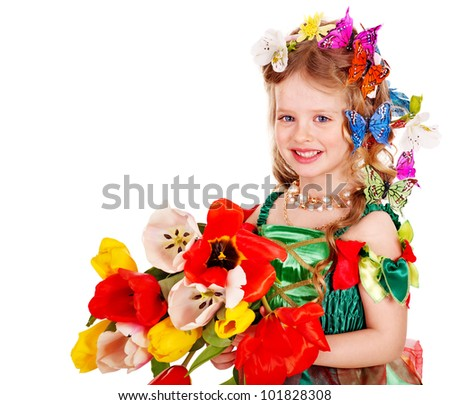 Little girl with flower and butterfly. Isolated.