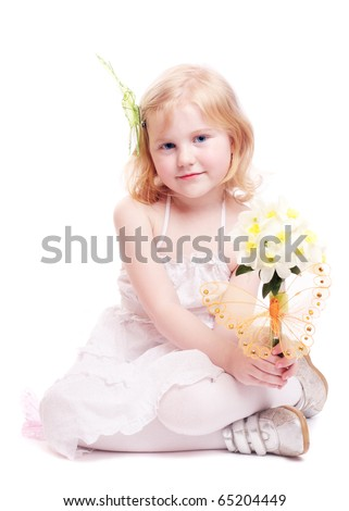 little girl with flowers isolated on white - stock photo
