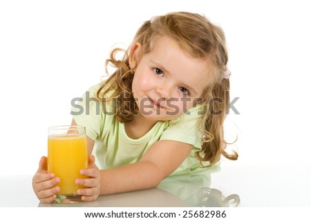 Little girl with fruit juice - isolated